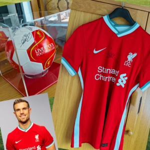 Photo of prizes sent to Laurence (and a pic of Jordan Henderson, his hero).